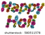 hand drawn floral card for... | Shutterstock .eps vector #580511578
