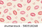 seamless pattern with kisses...   Shutterstock .eps vector #580518268