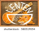 large wooden spoon with pieces... | Shutterstock . vector #580519054