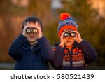 two little children  boys ... | Shutterstock . vector #580521439