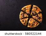 cut into slices delicious fresh ... | Shutterstock . vector #580522144