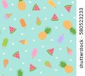 cute summer seamless pattern...   Shutterstock .eps vector #580523233