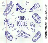 boots sketchy doodle collection.... | Shutterstock .eps vector #580528819