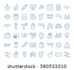 set of simple linear party... | Shutterstock .eps vector #580533310