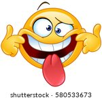 emoticon making a funny face  | Shutterstock .eps vector #580533673
