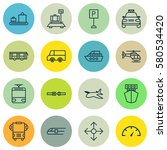 set of 16 shipping icons.... | Shutterstock . vector #580534420