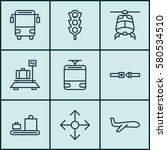 set of 9 vehicle icons.... | Shutterstock . vector #580534510