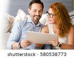 lively couple having... | Shutterstock . vector #580538773