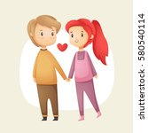 cute love couple holding hands. ... | Shutterstock .eps vector #580540114