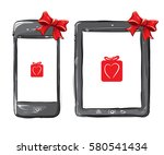 mobile phone and tablet... | Shutterstock .eps vector #580541434