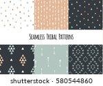 set of modern seamless hand... | Shutterstock .eps vector #580544860