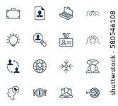 set of 16 business management... | Shutterstock . vector #580546108