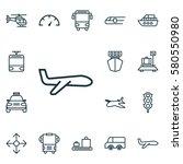 set of 16 transport icons.... | Shutterstock . vector #580550980