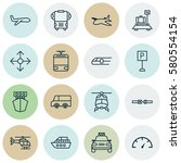 set of 16 shipping icons.... | Shutterstock . vector #580554154