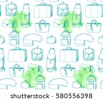 bags in retro style. hand drawn ... | Shutterstock .eps vector #580556398