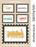 vintage stamps set with... | Shutterstock .eps vector #580556500
