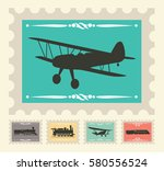 vintage stamps set with... | Shutterstock .eps vector #580556524