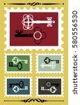 set of stamps with vintage key. ... | Shutterstock .eps vector #580556530