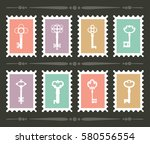 set of stamps with vintage key. ... | Shutterstock .eps vector #580556554