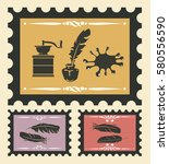stamps set with vintage objects.... | Shutterstock .eps vector #580556590