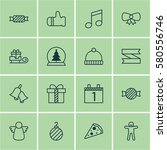 set of 16 christmas icons.... | Shutterstock .eps vector #580556746