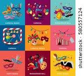 carnival flat design set vector ... | Shutterstock .eps vector #580557124