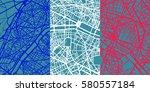detailed vector map of paris... | Shutterstock .eps vector #580557184