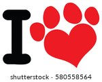 I Love Animals With Red Heart...