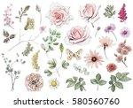 set watercolor elements of rose ... | Shutterstock . vector #580560760