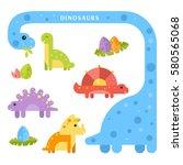 set of cute dinosaurs for kids. ...   Shutterstock .eps vector #580565068