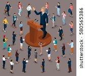 trendy people isometric vector... | Shutterstock .eps vector #580565386