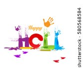 happy holi vector illustration  | Shutterstock .eps vector #580568584