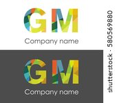 gm letter abstract mosaic shape ... | Shutterstock .eps vector #580569880
