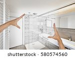 planned renovation of a luxury... | Shutterstock . vector #580574560