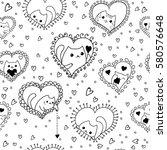 doodles cute seamless pattern.... | Shutterstock .eps vector #580576648