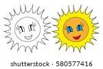 sun cartoon book coloring | Shutterstock .eps vector #580577416