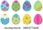 set of icons of easter eggs ... | Shutterstock .eps vector #580577668