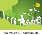 paper art of family and park on ... | Shutterstock .eps vector #580580248