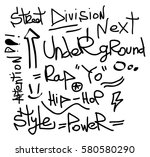 modern graffiti tags on a white ... | Shutterstock .eps vector #580580290