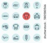 set of 16 transportation icons. ... | Shutterstock . vector #580580566
