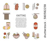vector knitting  symbols icon...   Shutterstock .eps vector #580582258