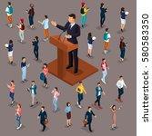 trendy people isometric vector... | Shutterstock .eps vector #580583350