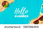 beautiful summer vacation web... | Shutterstock .eps vector #580586404