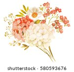 Stock photo pink white jasmine hydrangea rose flowers wedding watercolor bouquet 580593676