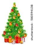 green fluffy christmas tree... | Shutterstock . vector #580594138