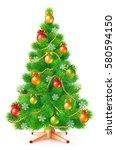 green fluffy christmas tree... | Shutterstock . vector #580594150