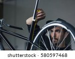 serious bearded craftsman... | Shutterstock . vector #580597468