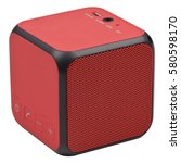 Small photo of Red wireless bluetooth speaker isolated on white background.