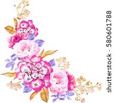 floral bunch of roses  eaves ... | Shutterstock . vector #580601788