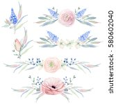 hand drawn watercolor flowers... | Shutterstock . vector #580602040